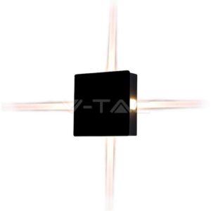 Απλίκα LED 4W τετράγωνη μαύρη VTAC