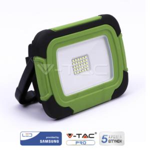 Προβολέας LED 10W επαναφορτιζόμενος VTAC SAMSUNG