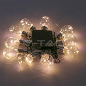 Γιρλάντα διάφανες LED 2m 3000Κ ηλιακή VTAC