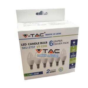 Κεράκι LED E14 5.5W VTAC blister 6 τμχ