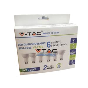 Σποτάκι LED GU10 5W VTAC 6 τμχ blister