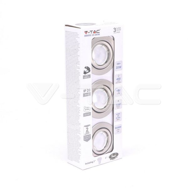 Σποτάκι LED GU10 5W με βάση 3τμχ VTAC